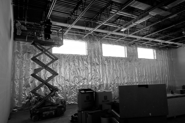 SHS band room, sheetrock