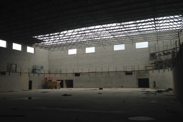 SHS from floor of main gym, looking south