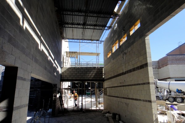 SHS hall, gym on left; lunchroom on right