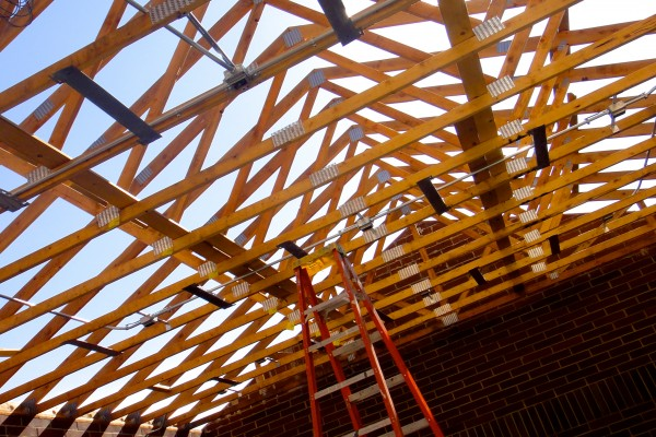 SHS, trusses in maintenance shed