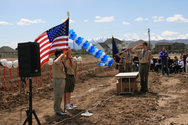 A scout group leading the Pledge of Allegiance at the Skyridge Groundbreaking Ceremony on April 29, 2014.