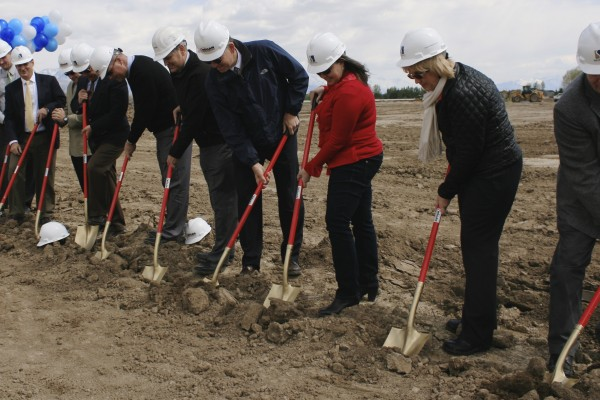 Skyridge Groundbreaking Ceremony, April 29, 2014. Members of the Alpine School District Cabinet and Board, State School Board, and construction team members.